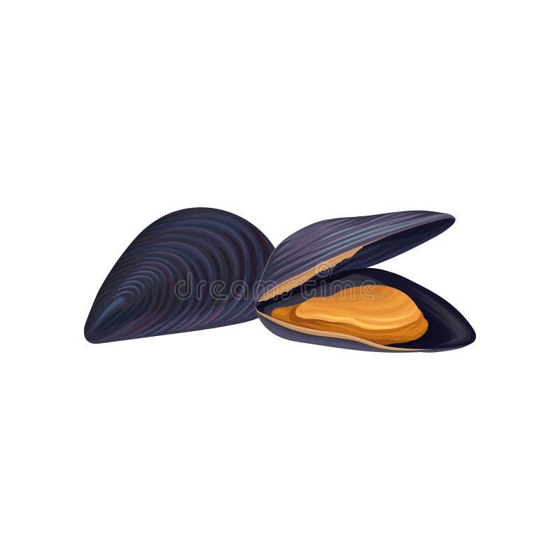 Mussels w czarnej skorupie tła pojęcia mienie odizolowywał langoustine cytryny owoce morza biel Świeży i organicznie produkt Proj ilustracji
