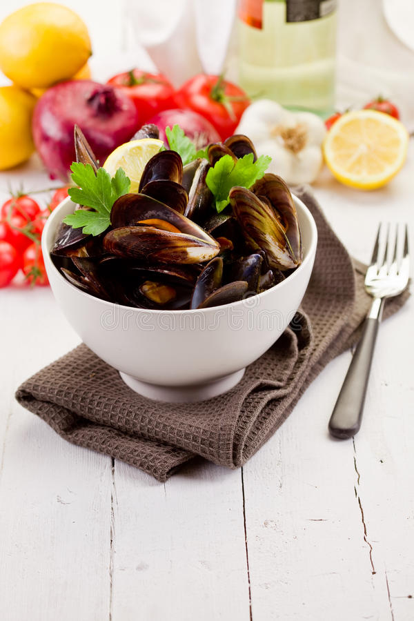 Download Mussels with white wine stock image. Image of garlic - 23590455