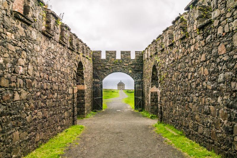 Mussenden Temple from Downhill House, Northern Ireland stock images