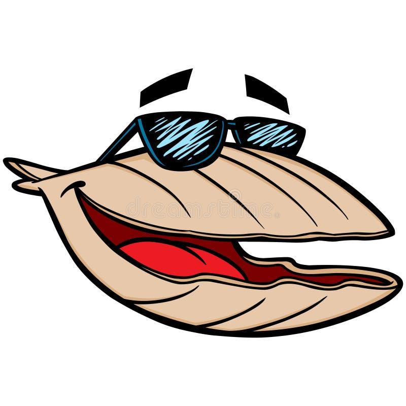 Mussla med solglasögon stock illustrationer