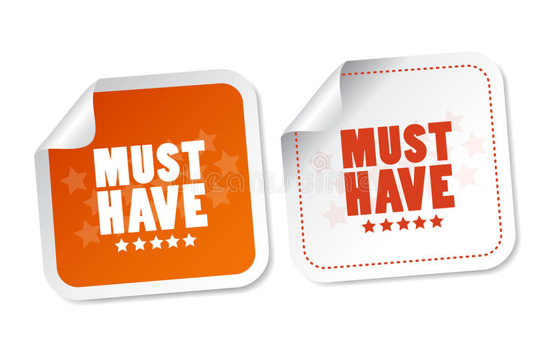 Must have stickers. With soft shadow royalty free illustration