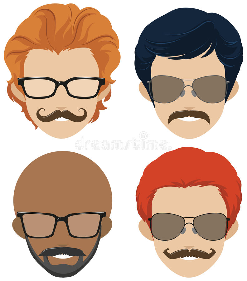 Mustach styles and glasses for men. Illustration royalty free illustration