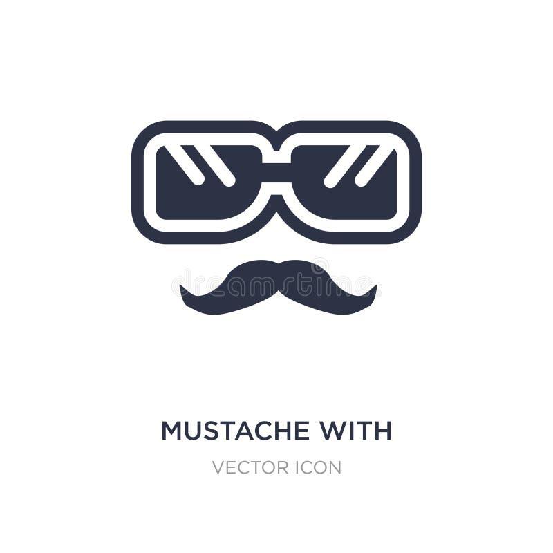 mustache με το εικονίδιο γυαλιών στο άσπρο υπόβαθρο Απλή απεικόνιση στοιχείων από την έννοια κόμματος απεικόνιση αποθεμάτων