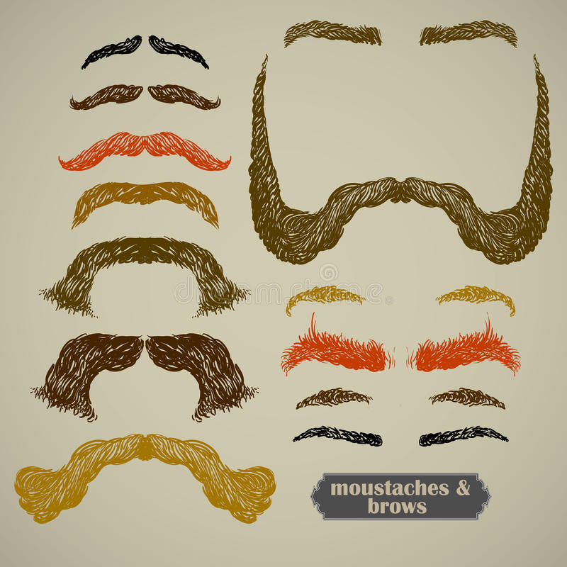 Mustache και φρύδια διανυσματική απεικόνιση
