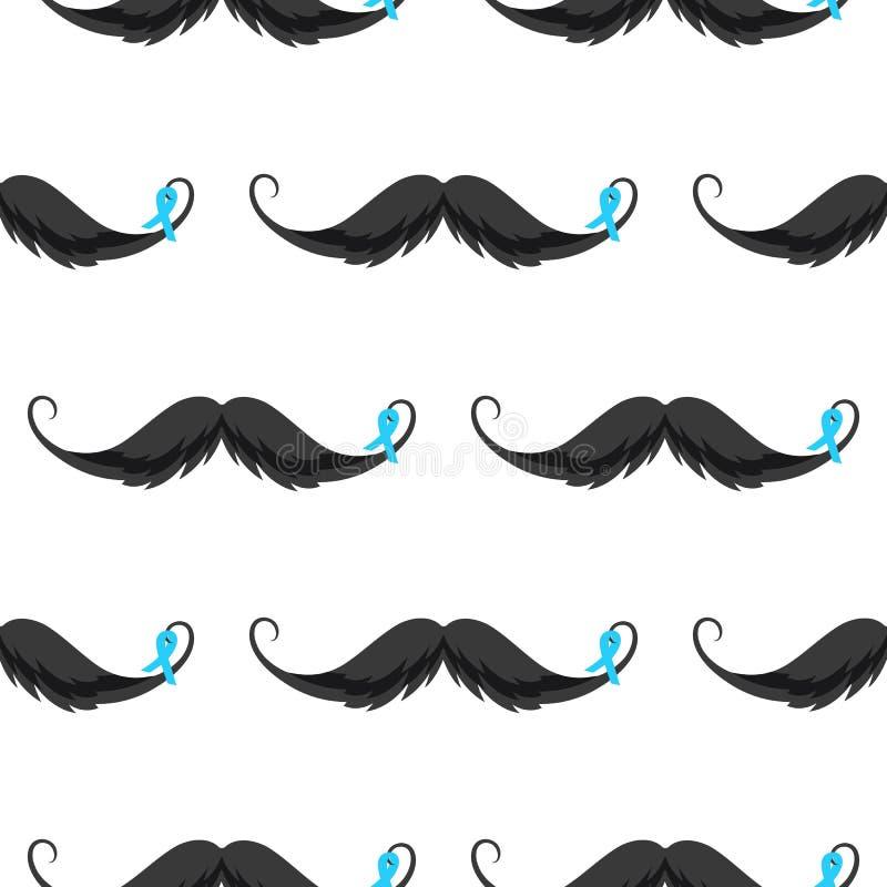 Mustache με το μπλε άνευ ραφής σχέδιο κορδελλών Εθνικό προστατικό υπόβαθρο μήνα συνειδητοποίησης καρκίνου ελεύθερη απεικόνιση δικαιώματος