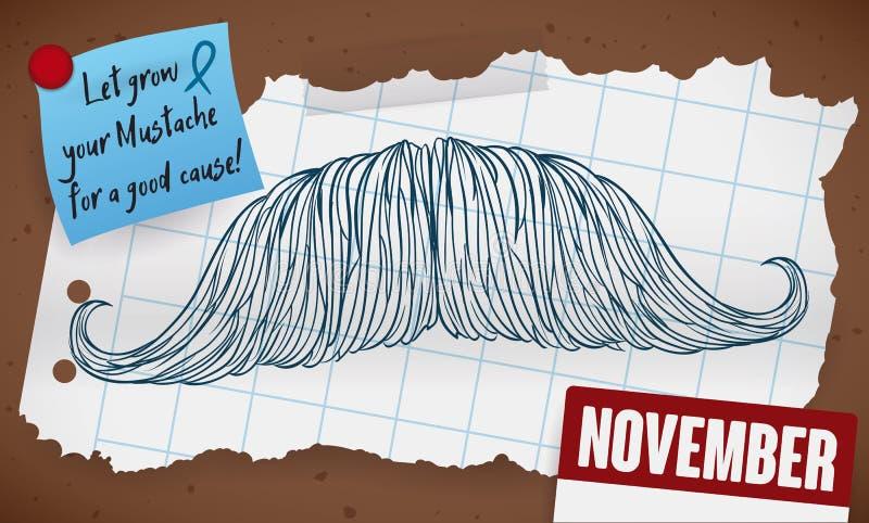 Mustache που σύρεται στο έγγραφο, την υπενθύμιση και το ημερολόγιο για την εκστρατεία ατόμων ` s, διανυσματική απεικόνιση απεικόνιση αποθεμάτων