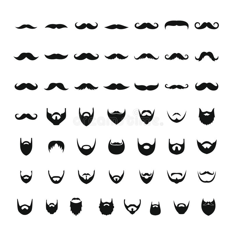 Free Mustache And Beard Icons Set, Simple Style Stock Images - 104050474