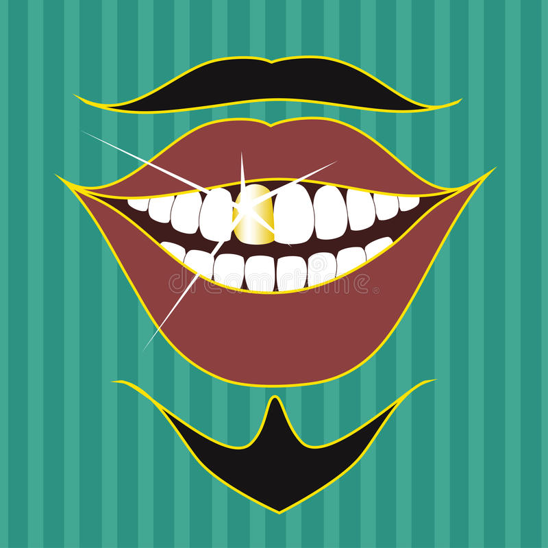 Mustache, beard and smile of entertainer. On a retro background stock illustration