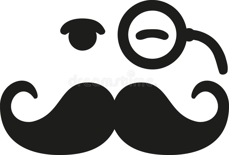 Mustache with blinking eye and monocle. Vector vector illustration
