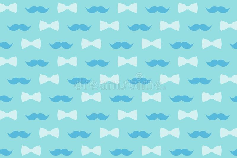 Download Mustache And Bow Tie In Gently Blue Tones For Design Wallpaper Decor