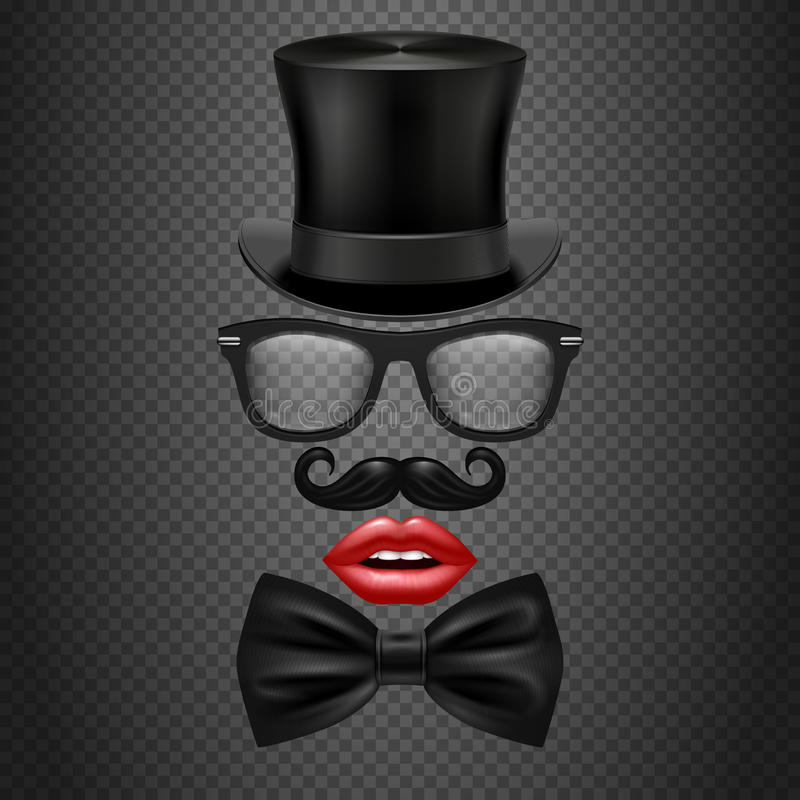 Mustache, bow tie, glasses, red girl lips and cylinder hat. realistic vector hipster photo booth props royalty free illustration