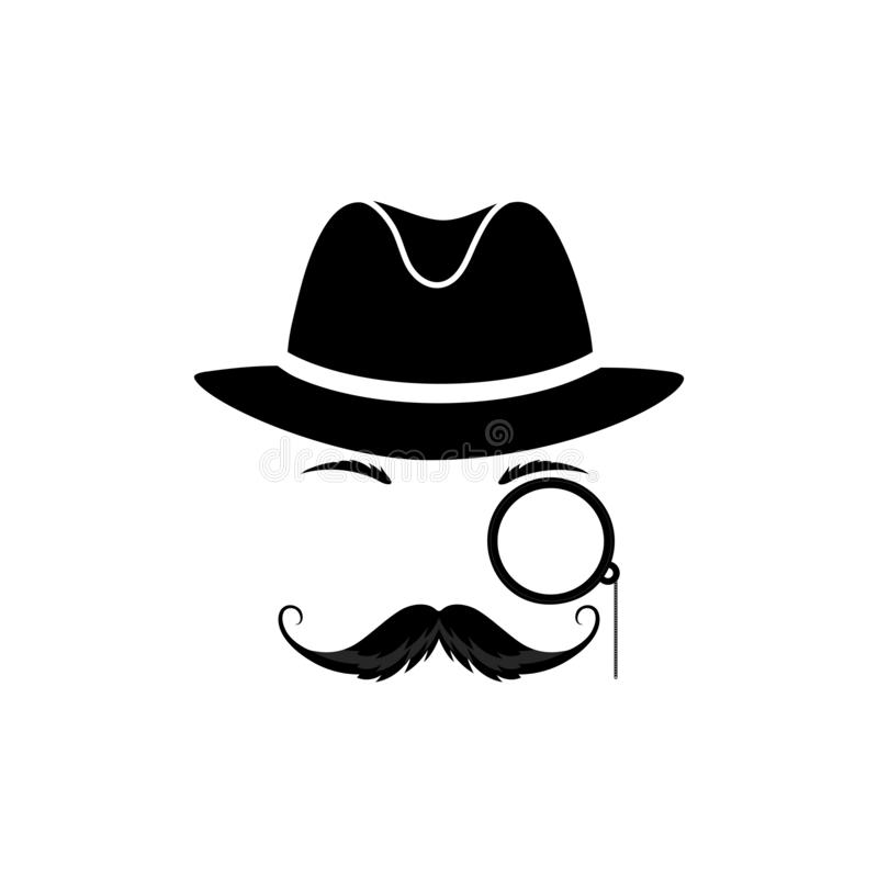 A mustache detective in a hat and with a monocle. Gentleman in a bowler cap. Detective vector icon stock illustration