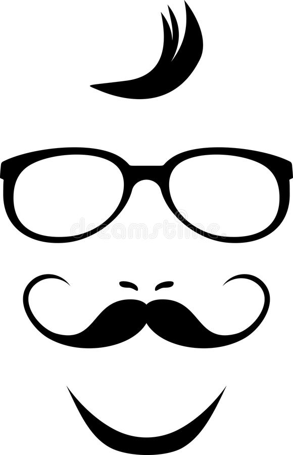 Mustache and glasses. Icon for hipster style stock photography