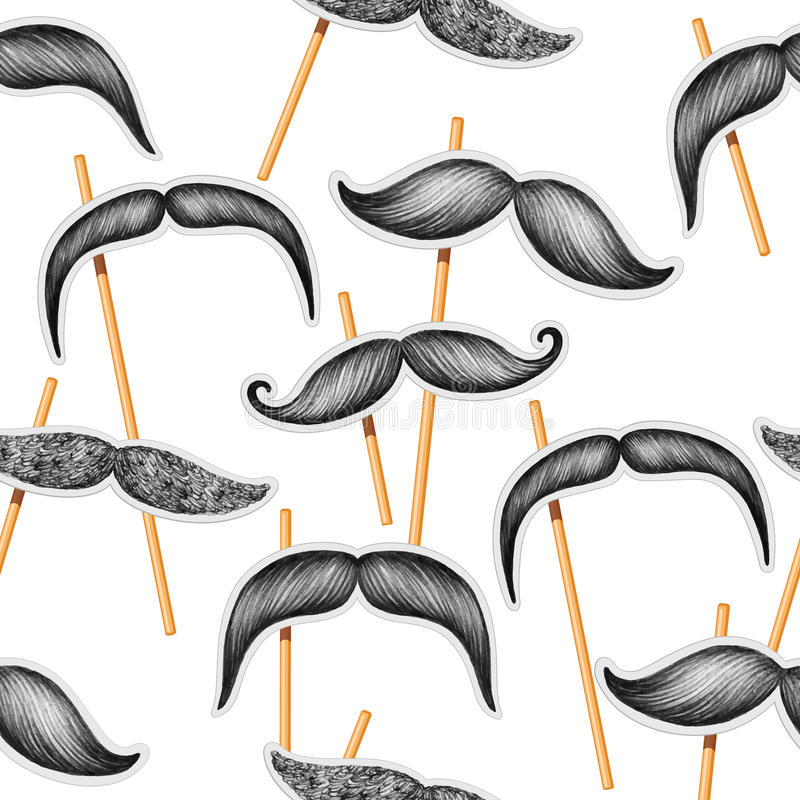 Mustache hand drawn seamless pattern. Vector Mustache hand drawn seamless pattern on the white background stock illustration