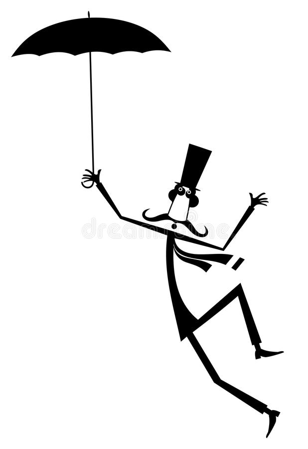 Free Mustache Man In The Top Hat With Umbrella Isolated Illustration Royalty Free Stock Photo - 117156095