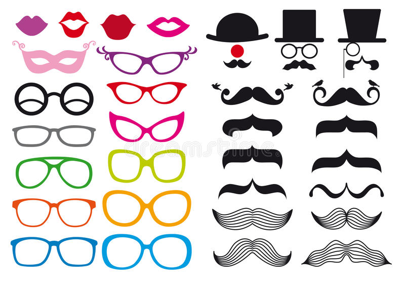 Mustache and spectacles, vector set royalty free illustration