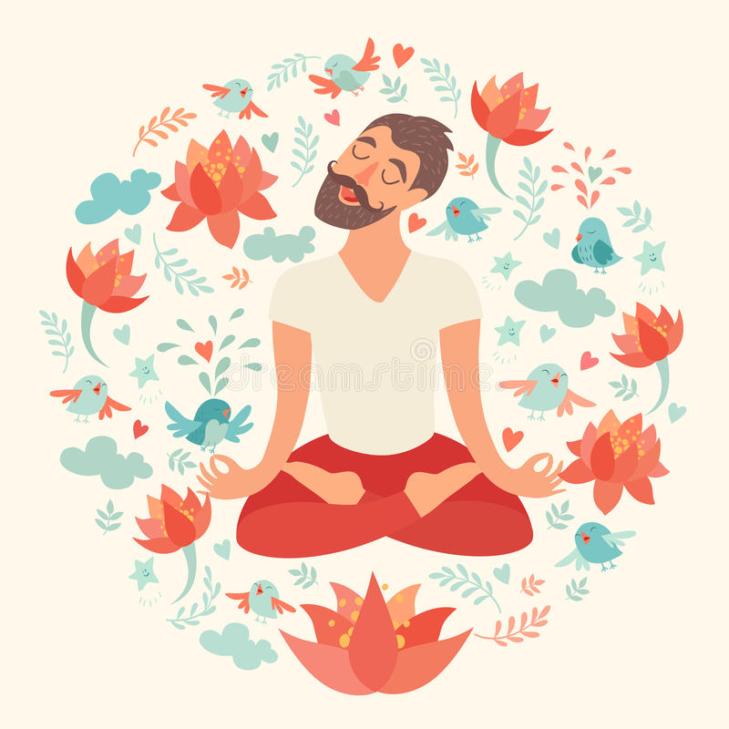 Mustached bearded man in the lotus position. On the circle background with lotus, bird, cloud, heart, leaf on ivory color. The design concept of yoga, fitness stock illustration