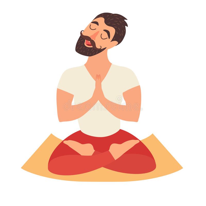 Mustached bearded man in the lotus position on the mat for yoga. Isolated illustration on the white background. The design concept of yoga, relax, happiness vector illustration