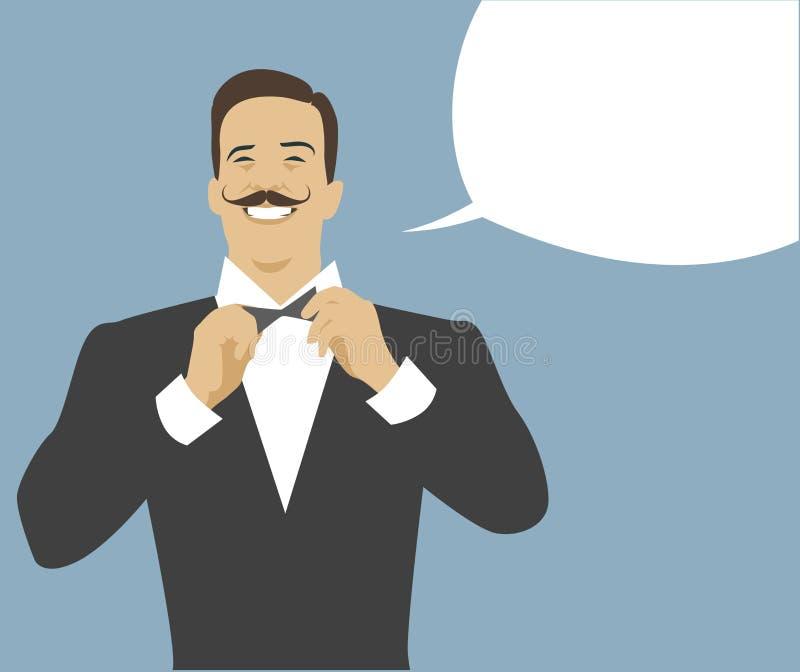Mustached uppassare och tom anförandeballong retro stil vektor illustrationer