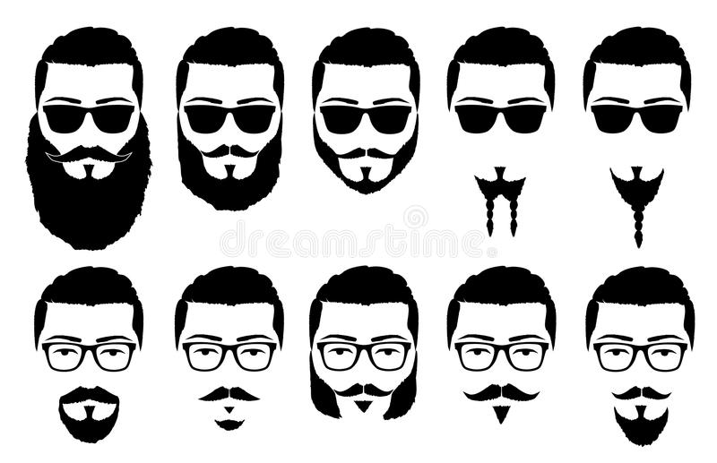 Mustaches and beards. Vector illustration silhouette mustache and beard includes format: EPS, JPG
