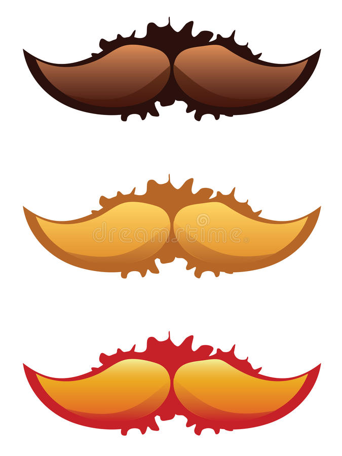 Mustaches Set. Colorful mustaches set with grunge splatters on white background royalty free illustration