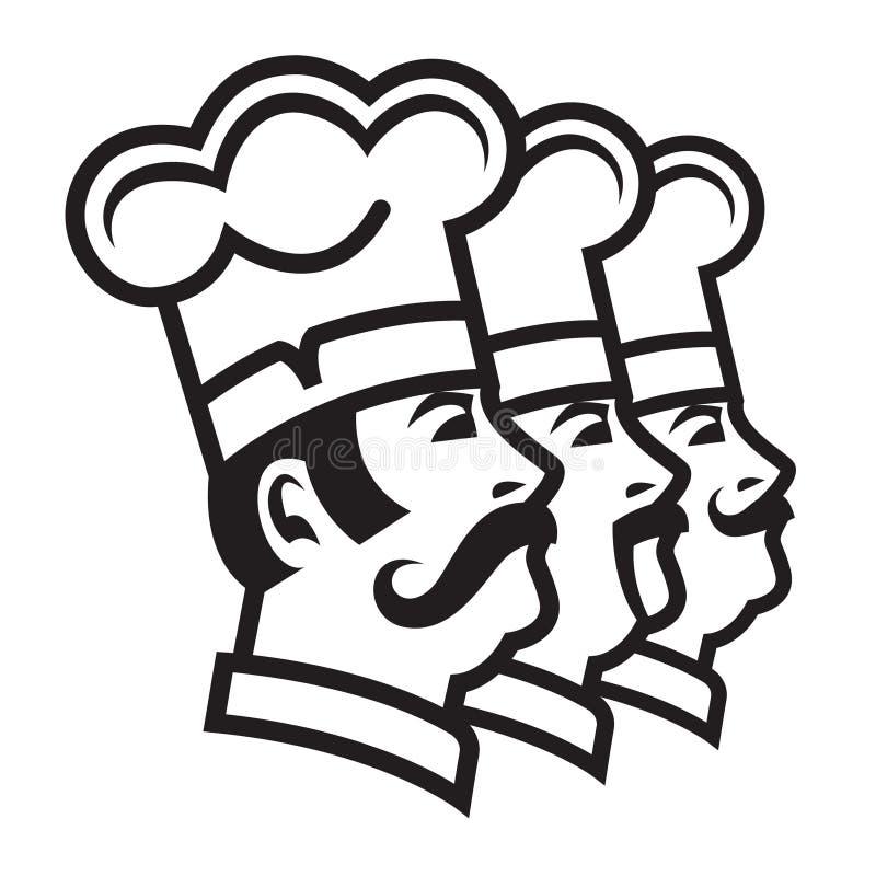 Mustachioed Chefs eingestellt lizenzfreie abbildung