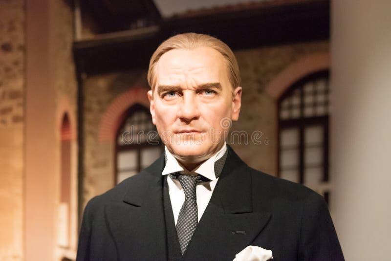 Mustafa Kemal Ataturk-wascijfer bij Mevrouw Tussauds-wasmuseum in Istanboel royalty-vrije stock afbeeldingen