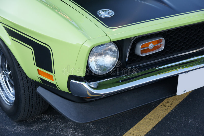 Mustang. Picture of the Grabber Lime 1971 Mustang Boss 351 Front End stock images