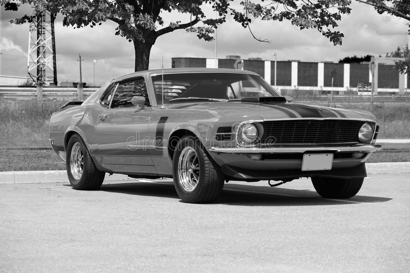 Mustang. Picture in black & white of the 1970 mustang boss 302 stock photo