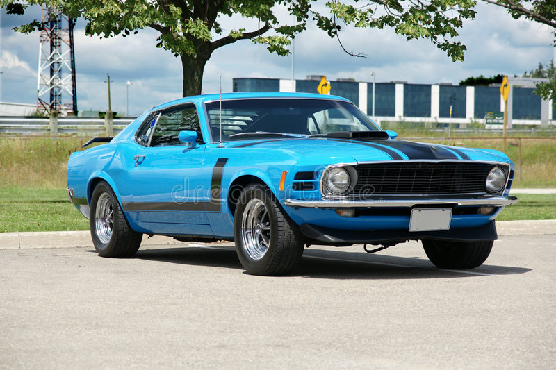 Mustang Boss 302. Picture of the 1970 Grabber Blue Mustang Boss 302 royalty free stock photos
