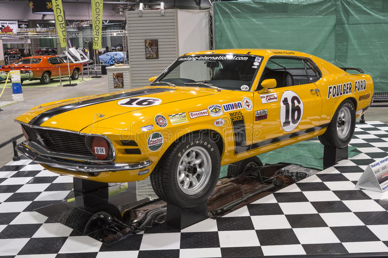 Mustang Boss 302 race car. Front side view of 1970 mustang boss 302 trans am racer in display during the salon de l`auto sport de quebec, april 7-8-9 2017 royalty free stock photo