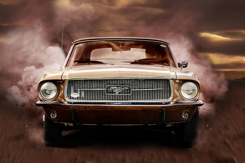 Mustang. Car rolling on high speed in the desert stock photos
