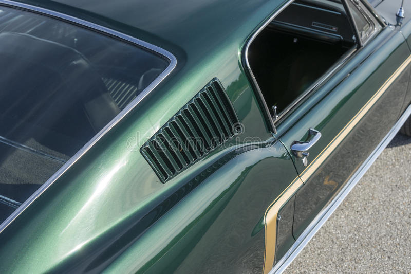 Mustang. Sanair august 8, 2015 close-up of green 1968 mustang fastback at 20e super ford show stock photo