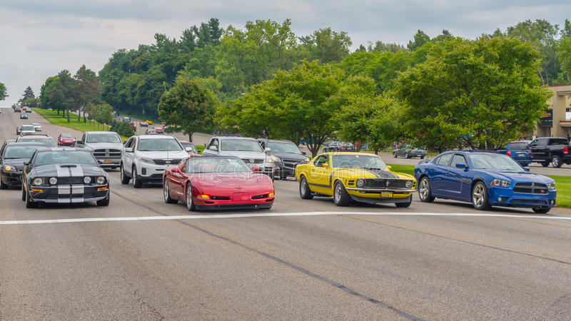 Mustang, Corvette, Ford Boss 302, and Charger, Woodward Dream Cr royalty free stock image