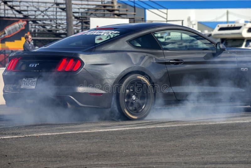 Mustang di Ford che fa burnout immagine stock