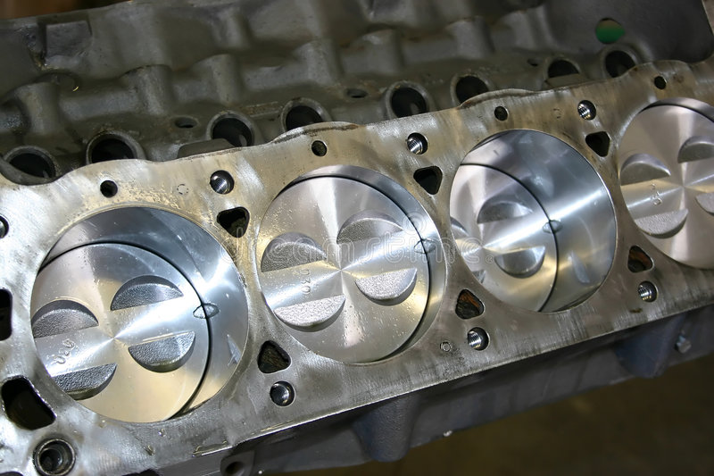Mustang Engine Block. Ford Mustang engine block. New pistons installed with a fresh coat of oil applied stock image