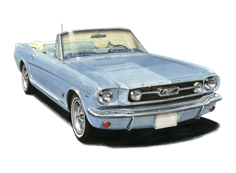 1966 Mustang GT Convertible. Illustration of a 1966 Mustang GT Convertible vector illustration