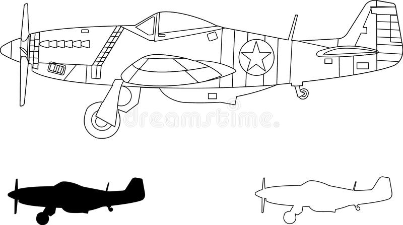 Mustang P51 vector illustratie