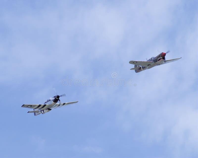 Mustang P51 och flygparad för P40 Warhawk fotografering för bildbyråer