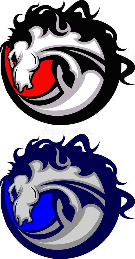 Mustang-/Pferden-Maskottchen-Zeichen stock abbildung