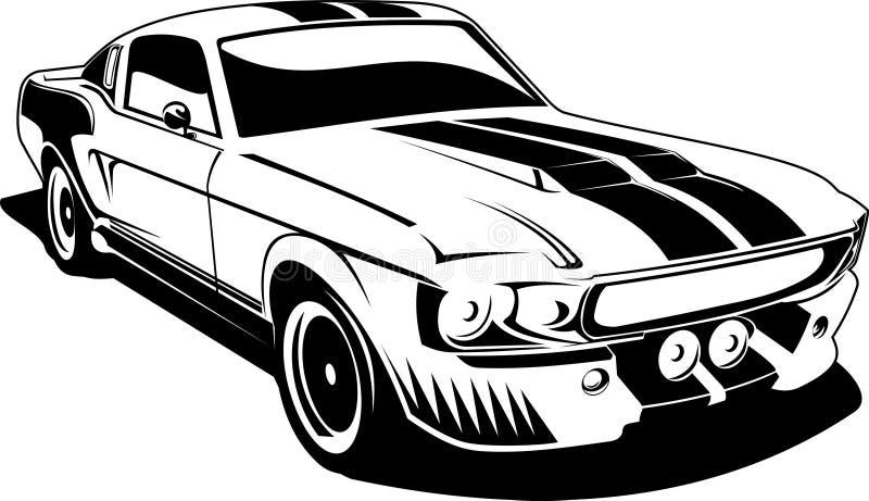 Mustang preto e branco do ford ilustração stock