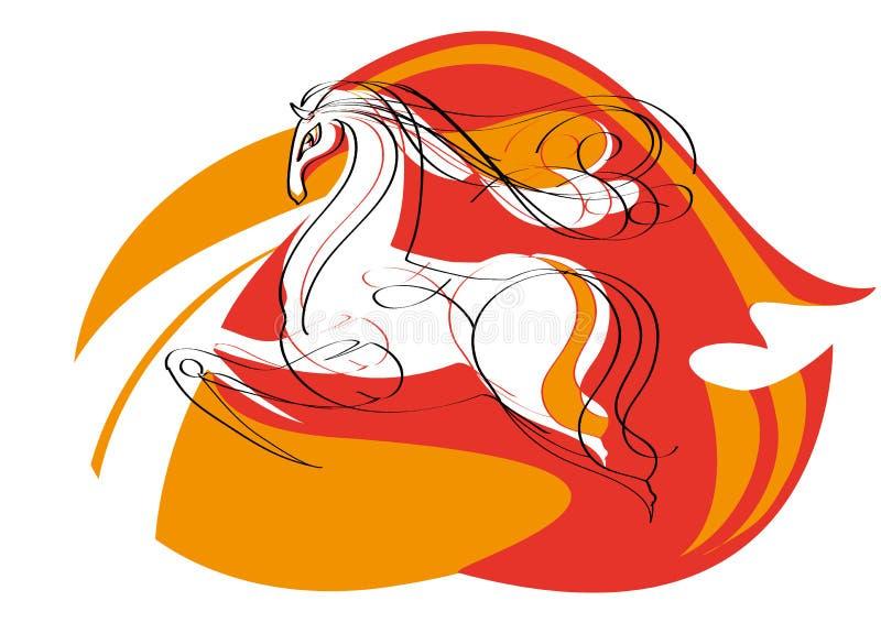 Mustang rosso illustrazione di stock