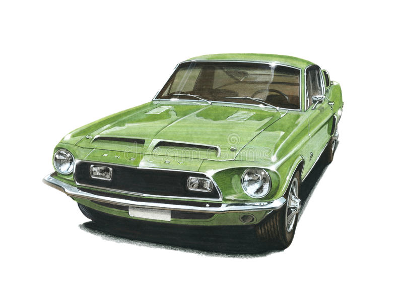 Mustang Shelby 500KR. Illustration of a 1966 Mustang GT Convertible royalty free illustration