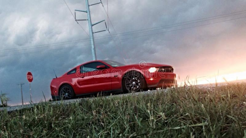 Mustangzonsondergang stock afbeelding