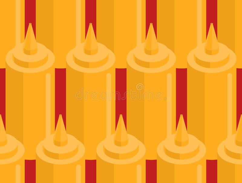 Mustard bottle fastfood seamless pattern. Fast food seasoning. Background. Food Ornament vector illustration