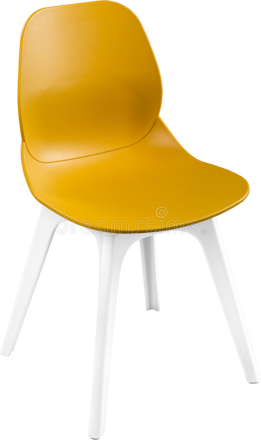Download Mustard Color Plastic Chair, Modern Designer. Chair Isolated On  White Background. Furniture