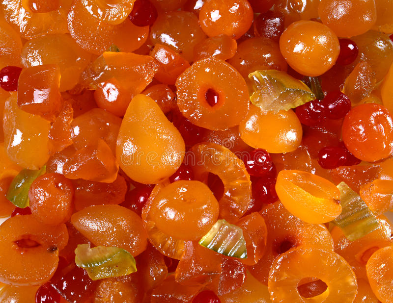Mustard-flavoured Italian mostarda. Or candied fruit served as a condiment and accompaniment for meat and cheese stock image