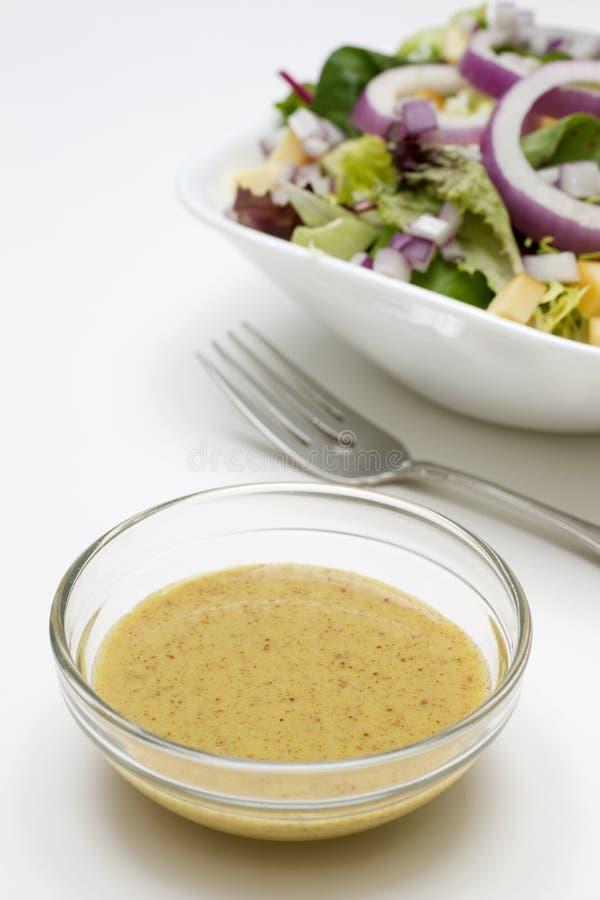 Mustard Vinaigrette Salad Dressing. In small glass bowl stock image