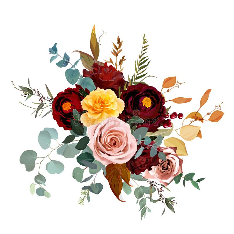 Free Mustard Yellow And Dusty Pink Rose, Burgundy Red Dahlia, Emerald Green And Teal Blue Eucalyptus Stock Image - 189463221