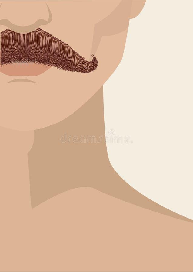 mustasch för bakgrundsframsidaman stock illustrationer